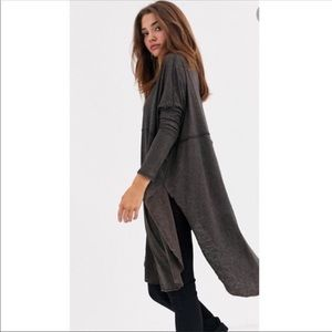 Free People Gray Oversized Low Flowy Tunic